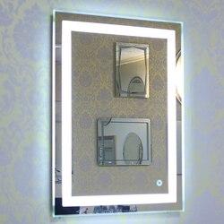 Espejo LED 5050 de pared para baño iluminado, espejo de pared para maquillaje con botón táctil, nuevo para el hogar, Hotel, baño con estilo