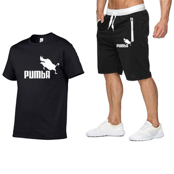 2020 Summer New Cotton Short-sleeved Men's Tracksuit Casual Sports Suit Clothes Tshirt+shorts Print Brand Sets