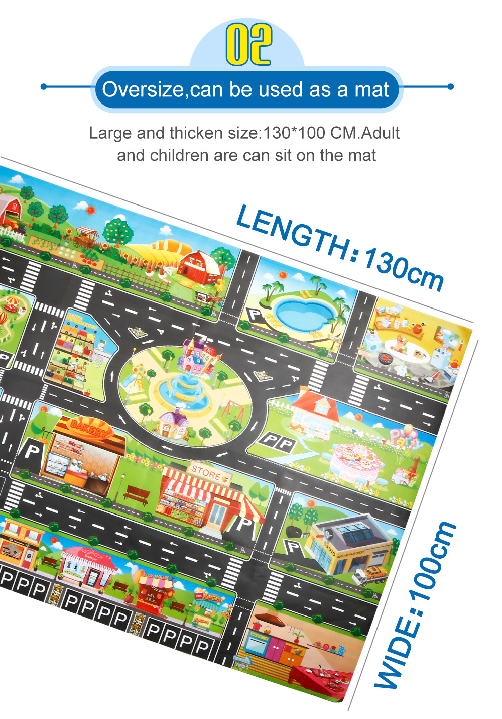 H3c1396682f314eaaa44e4fcc5dab8582O Large City Traffic Car Park Mat Play Kids Rug Developing Baby Crawling Mat Play Game Mat Toys Children Mat Playmat Puzzles GYH