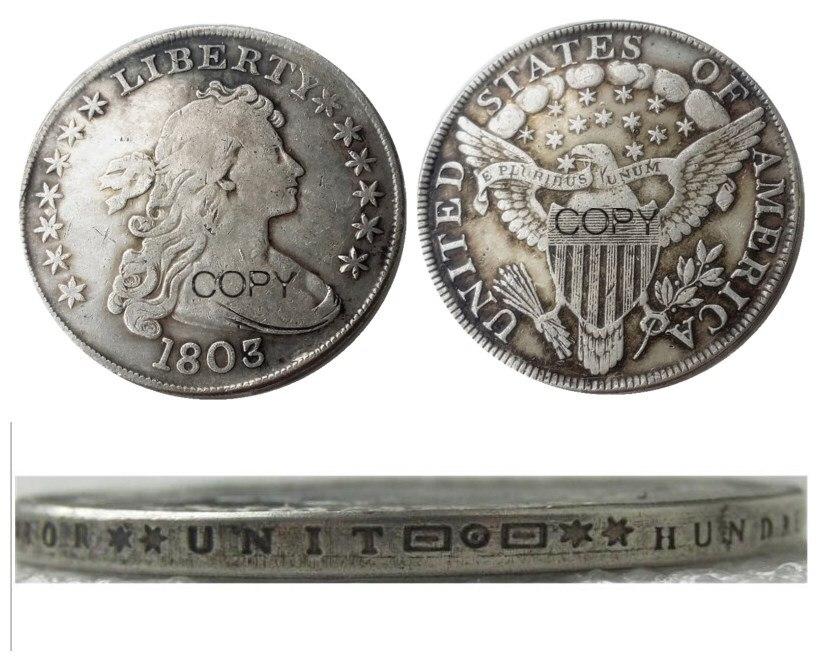 Us 1803 drapeado busto dólar prata chapeado cópia moeda