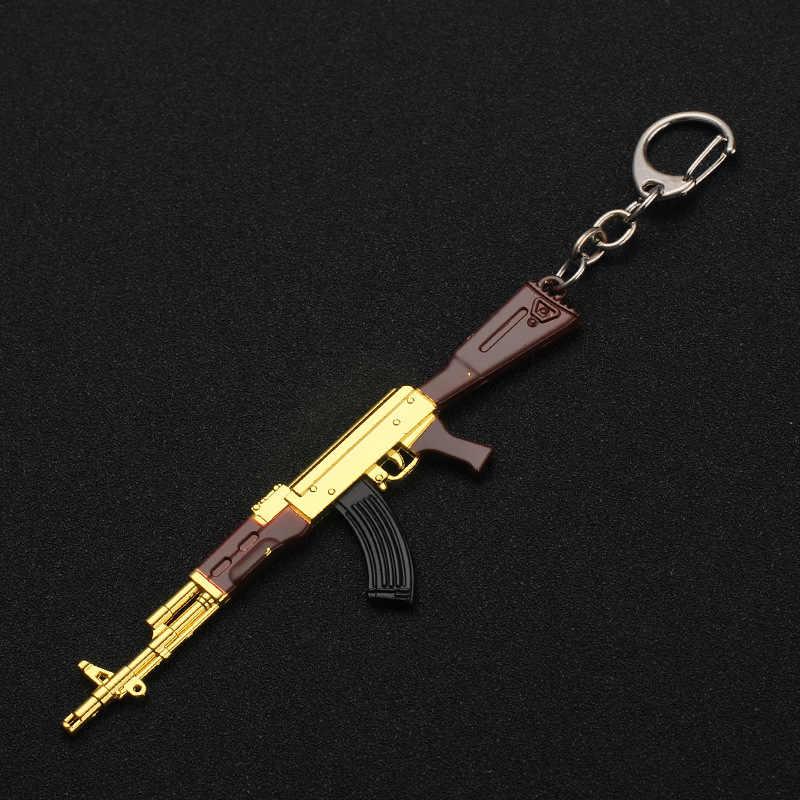 TEH PUBG oyunu anahtarlıklar yeni AK47 tabanca silah modeli kolye anahtarlık oyunu periferik tuşları için erkekler araba kadın çantası aksesuarları hediye