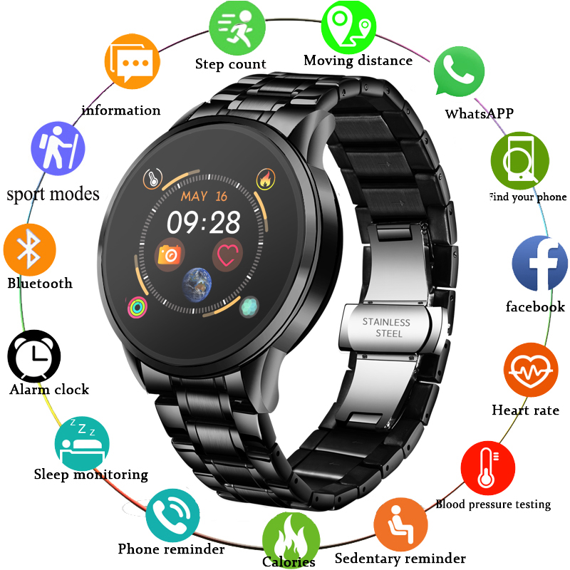 LIGE 2020 Smart Watch Men Heart Rate Blood Pressure Information Reminder Sport Waterproof Smartwatch smart band for Android iOS 2