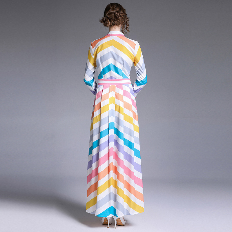 Autumn Boho Striped Maxi Dress for Women Casual Chiffon Multicolor Thin Long Sleeve Fashion Elegant Club Party Dresses Vestidos in Dresses from Women 39 s Clothing