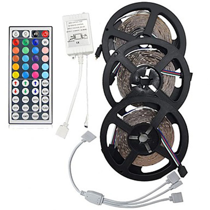 Non-Waterproof 15M SMD3528 RGB 900 LED Strip Light Kit Set  44 Keys Controller  Cable Connect DC12V Support Dropshipping