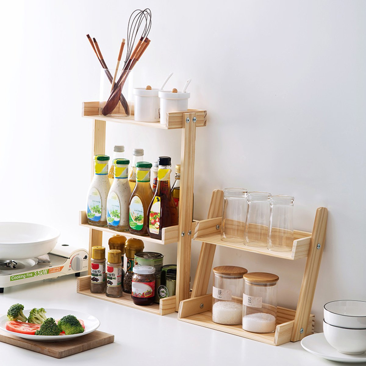 2/3 Layers Wooden Storage Rack Holder Kitchen Organizer Shelf Multifunction Kitchen Seasoning Utensils Storage Table Rack Stand