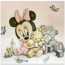 Disney – Cube de broderie complet en diamant, perceuse complète, décoration en strass, cadeaux, peinture en diamant Mickey et Minnie, couture