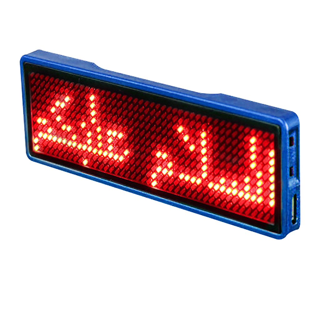Digital Programmable Party Display Rechargeable Business Card Hotel Advertising Message Sign Scrolling LED Name Tag Portable