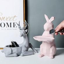Creative Ceramic Animal Storage Deer Rabbit Living Room Home Decoration Countertop Decor Geometric Sundries Storage Basket Gift