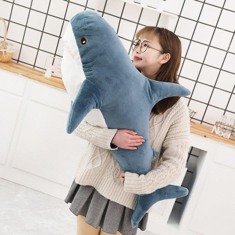 1pc 80/100CM grande taille requin en peluche doux en peluche speelgoed Animal lecture oreiller pour cadeaux d'anniversaire coussin cadeau pour enfants