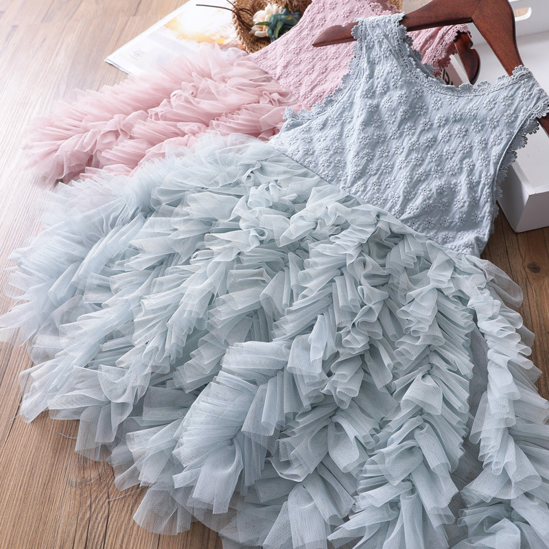 White Lace Little Girl Princess Dress Fluffy Cake Smash Dresses Kids Wedding Party Wear Birthday Tutu Gown Children Clothes 3-8T 5