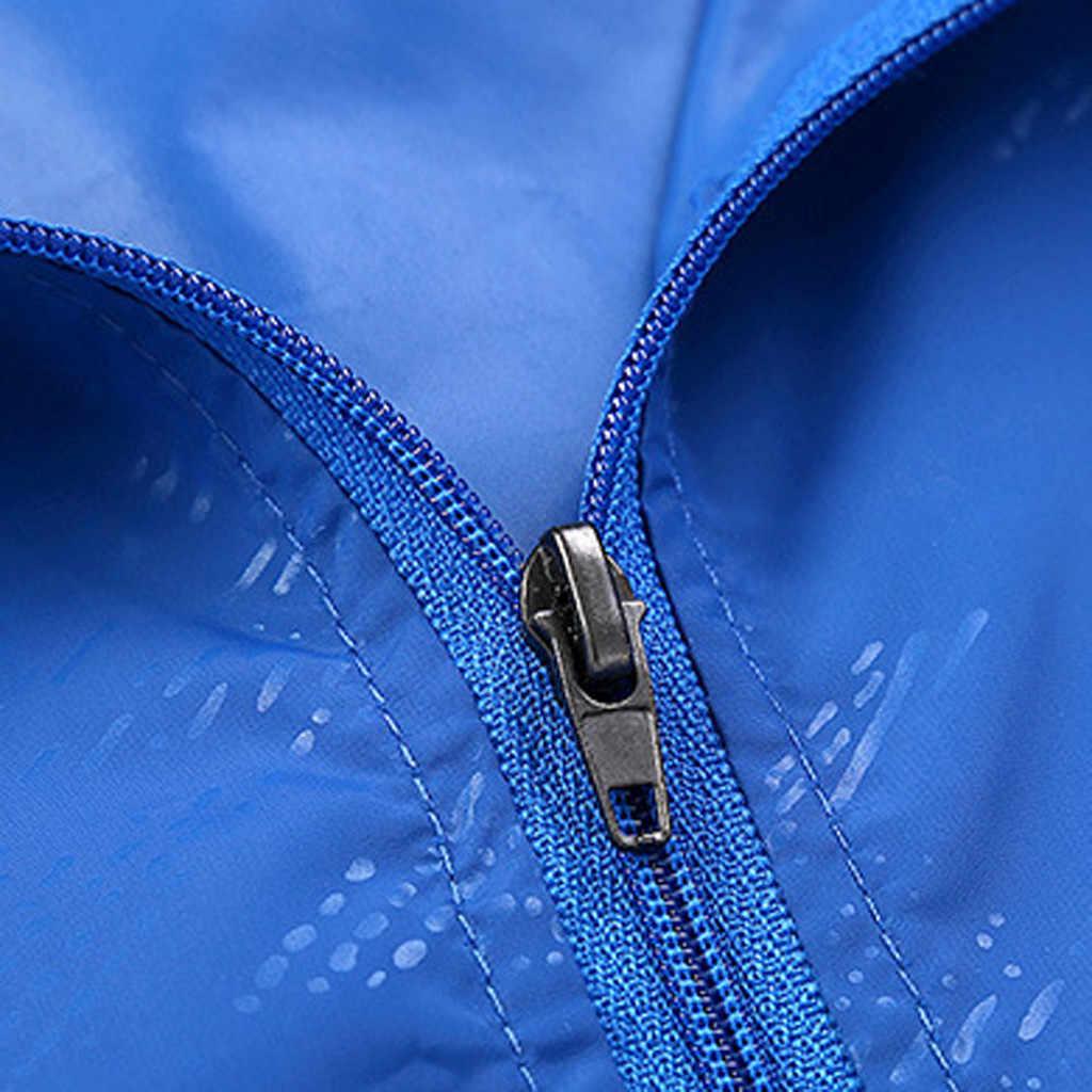 男性女性の秋の屋外スポーツ防水ウインドブレーカージャケットパーカージャケット無地薄い日焼けトップフード付きジッパー jacke