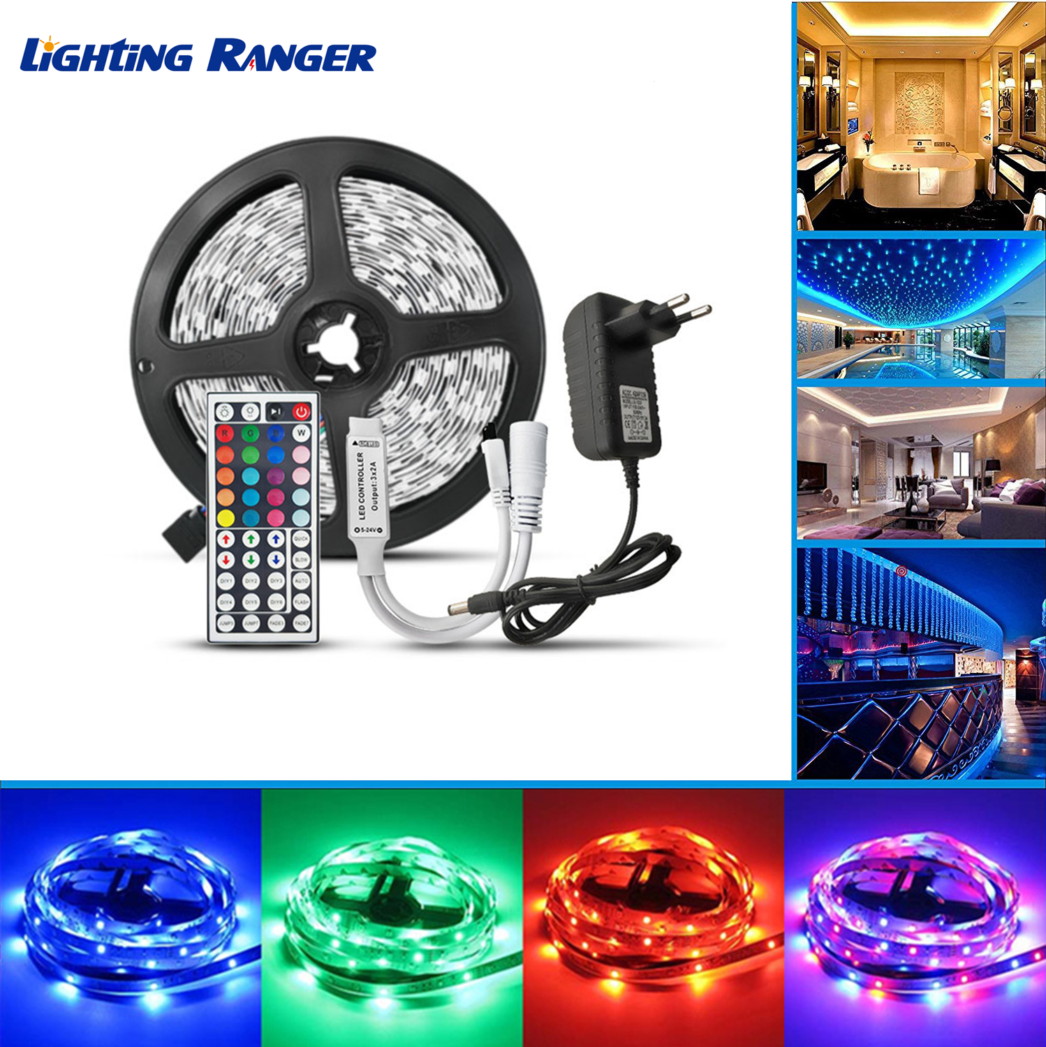 5M 10M 15M 20M LED Strip Lights 5050 2835RGB Flexible Ribbon Strip 12V Remote Decoration For Home Christmas Led Light Strip image