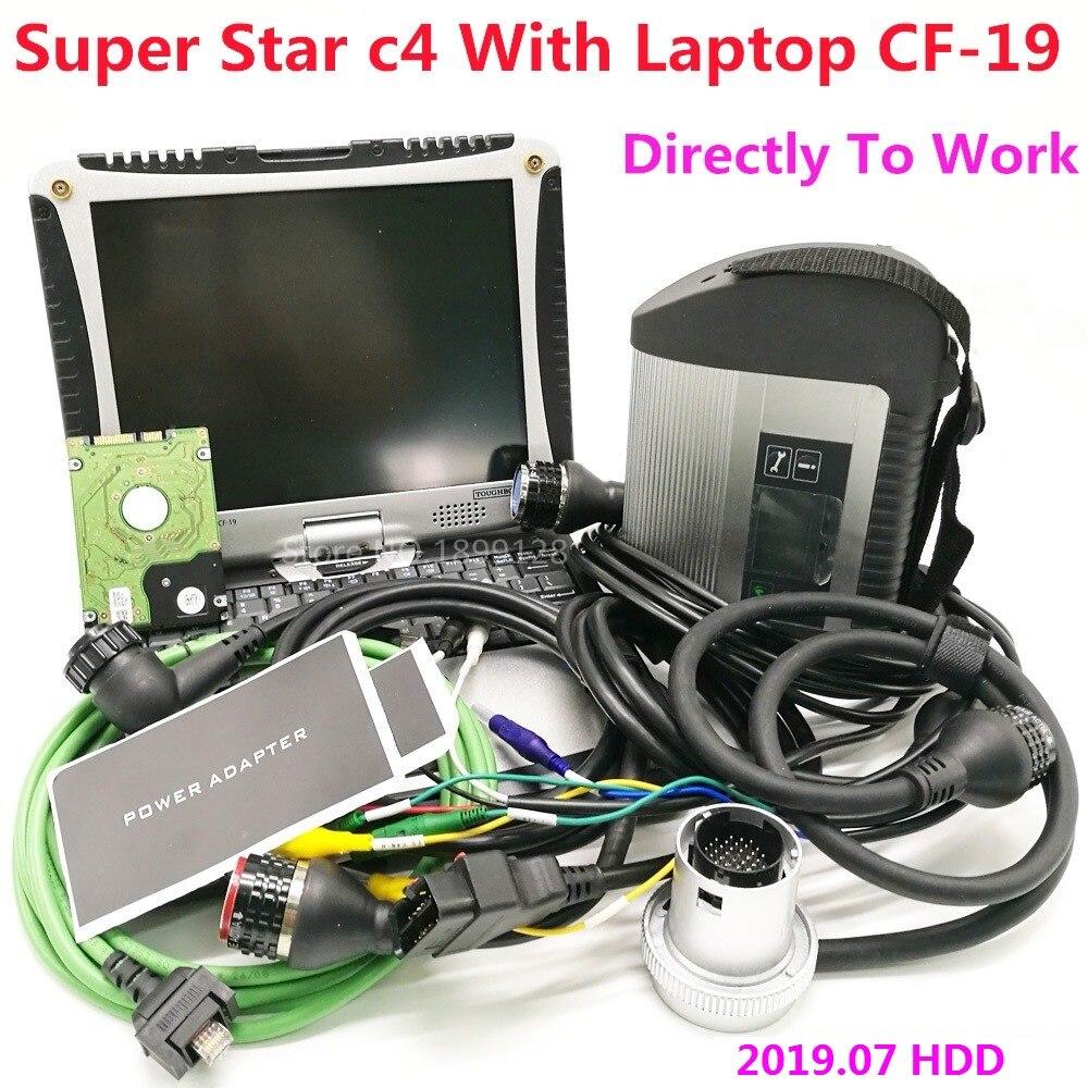 Одежда высшего качества mb star c4 с ноутбуком CF-19 новейшее программное обеспечение 2021,03 Vediamo 05,01 DTS Best Star компактное диагностирующее устройство ...
