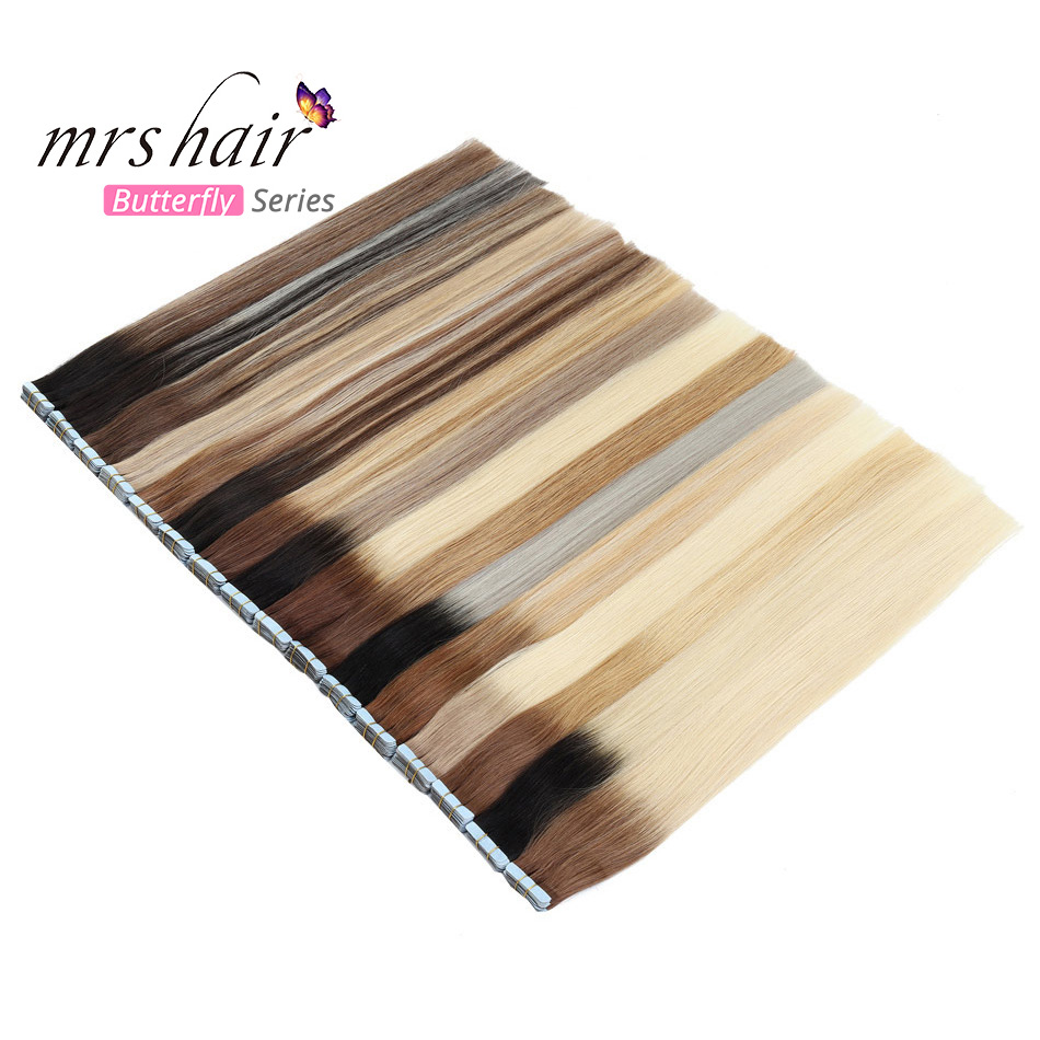 MRSHAIR Ombre Tape In Extensions Skin Weft Pu Hair Machine Remy Tape Hair Straight Tone Hair Balayage 14