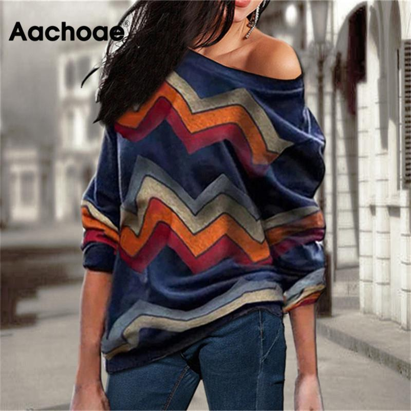 Aachoae Women Blouses Off Shoulder Tops Striped Print Pullover Jumper Casual Knitted Top Long Sleeve Blouse Shirt Camiseta Mujer