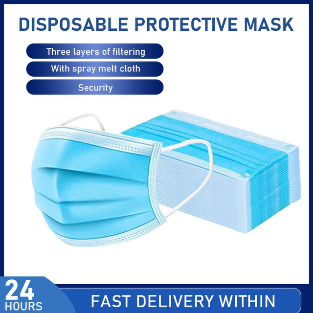 20/30/40/50/100pcs Non-woven 3 layers Disposable Mask Breathable Face Mouth Mask Kids Adult Ear loop Filter 2020