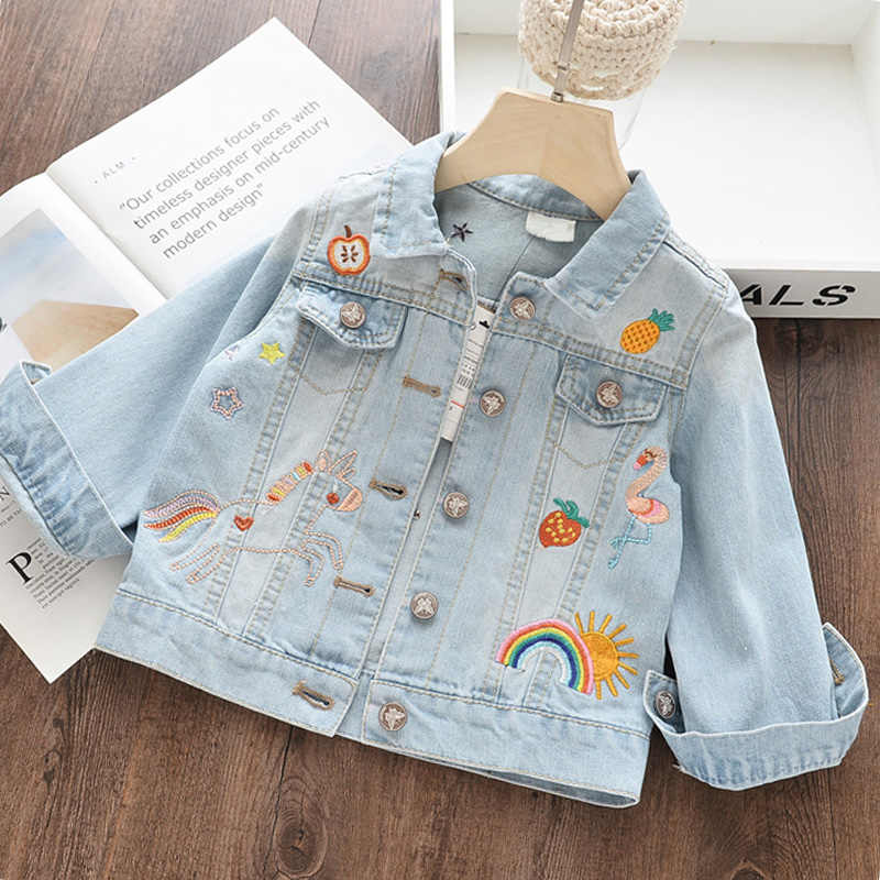 Menoea בנות ג 'ינס הלבשה עליונה 2019 חדש סתיו סגנון ילדים בגדי קריקטורה מעיל ילדי רקמת סוס מודפס בגדי מעיל