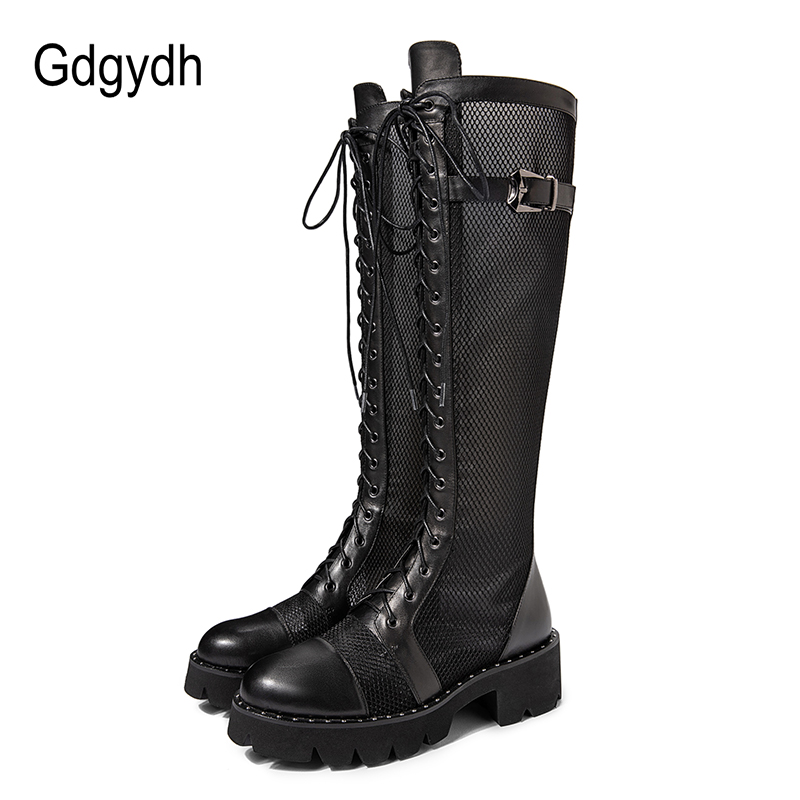 Gdgydh Genuine Leather Boots Women Breathable Mesh Cool Boots Knee High Lace-up Chunky Heel Summer Shoes Female Large Size 43