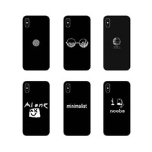 For Apple iPhone X XR XS 11Pro MAX 4S 5S 5C SE 6S 7 8 Plus ipod touch 5 6 Accessories Phone Cases Covers Black Minimalist Text(China)