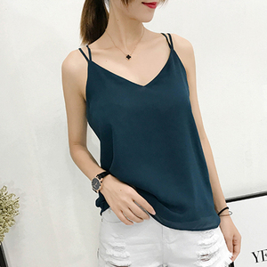 Image 1 - Korean Fashion Chiffon Women Camis Streetwear Sexy Tops Lace Sleeveless Black Female Tank Tops Plus Size XXXL/4XL Pink Shirt