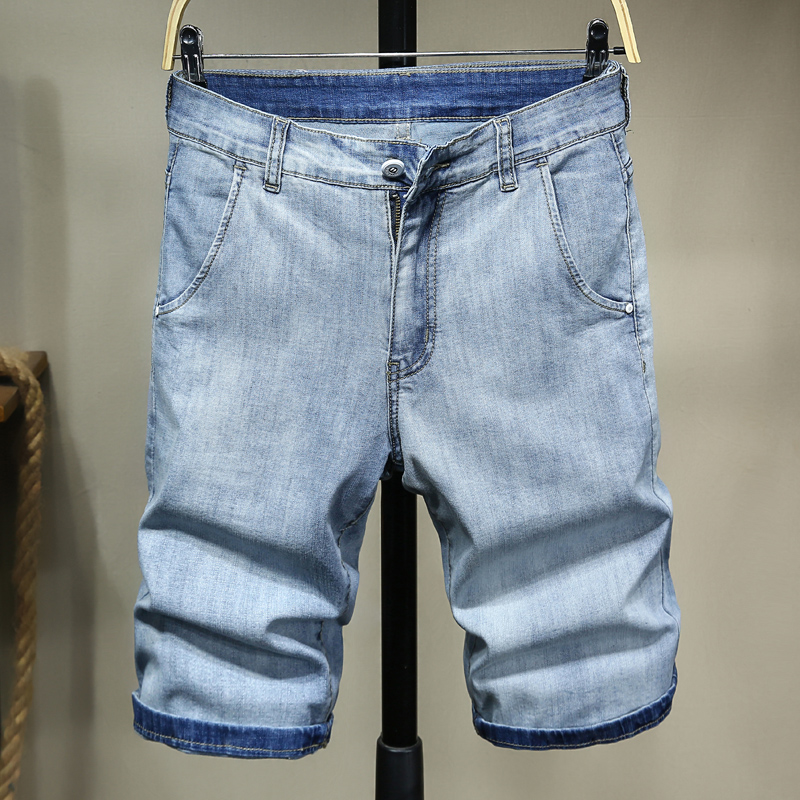 Plus Zise 42 44 46 Light Blue Short Jeans Men Summer New Big Pocket Straight Denim Shorts Male Brand Clothes