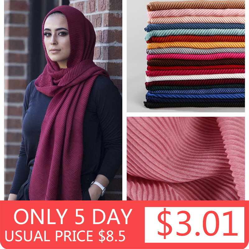 2020 Women Plain Cotton Scarf Head Hijab Wrap Solid Full Cover-up Shawls Foulard Femme Headband Crinkle Muslim Hijabs Store