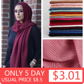 2020 women plain cotton scarf Head hijab wrap solid full cover-up shawls foulard femme headband crinkle muslim hijabs store - discount item  27% OFF Muslim Fashion