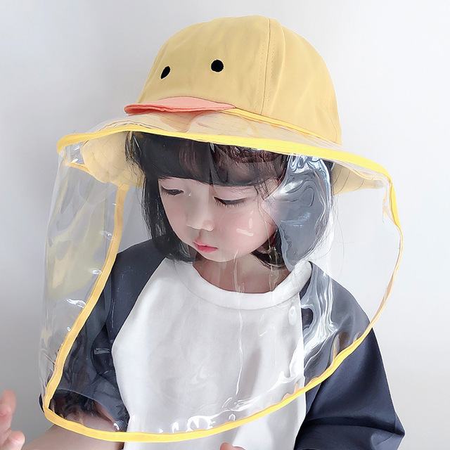 Summer Kids Bucket Hat Baby Protective Face Shield Cover Mask Hat Anti Saliva Dustproof Dual-use Mesh Breathable Sun Hat Cap 3