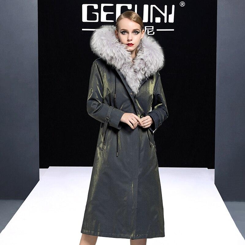 Coat Fur Real Natural Rabbit Fur Liner Parka Winter Jacket Women Raccoon Fur Collar Long Jackets For Women Overcoat MY S