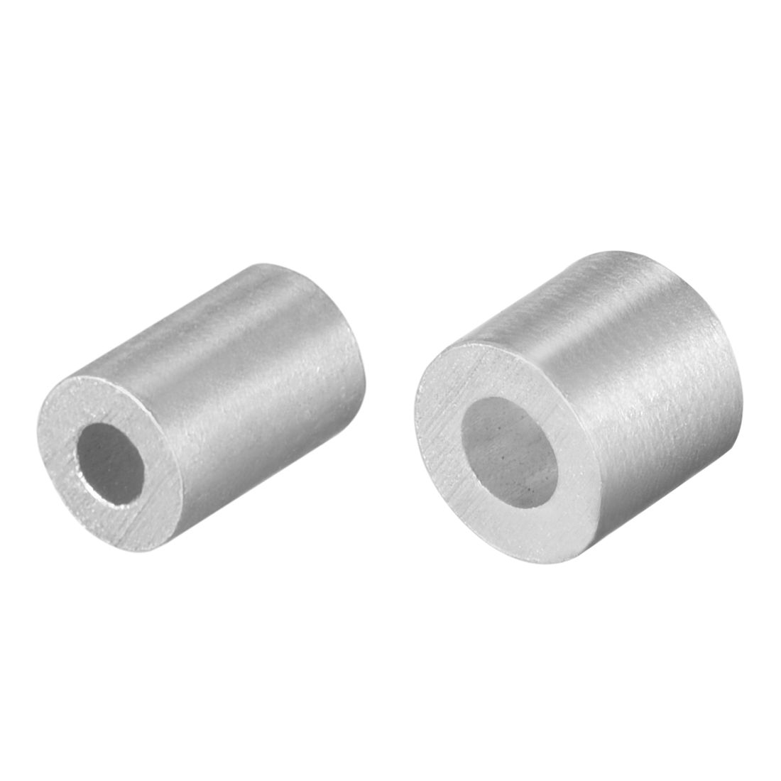 Uxcell 5/10/20/25/30/50/100psc Cable Wire Rope Aluminum Sleeves Clip Crimping Loop Silver Tone With Round Hole