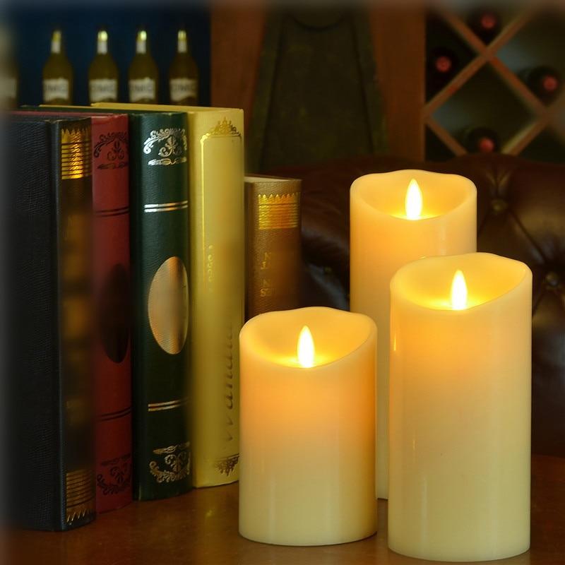 NEWKBO 3 шт./компл. Луминара Кот светодиодный Свечи Беспламенного реального Воск перемещение светодиодная свеча с фитилем лампа для свадьбы Рождественское украшение лампы