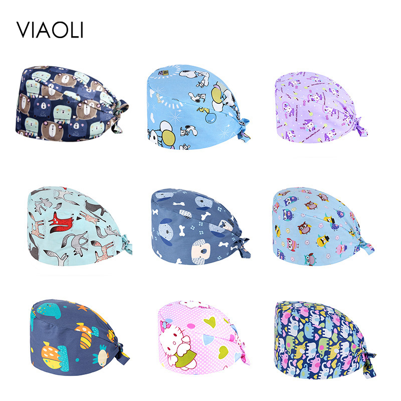 Viaoli Cotton Flamingo Pattern Surgical Medical Cap Hospital Doctor Operating Room Hats Dentistry Beauty Work Hat Pet Doctor Hat