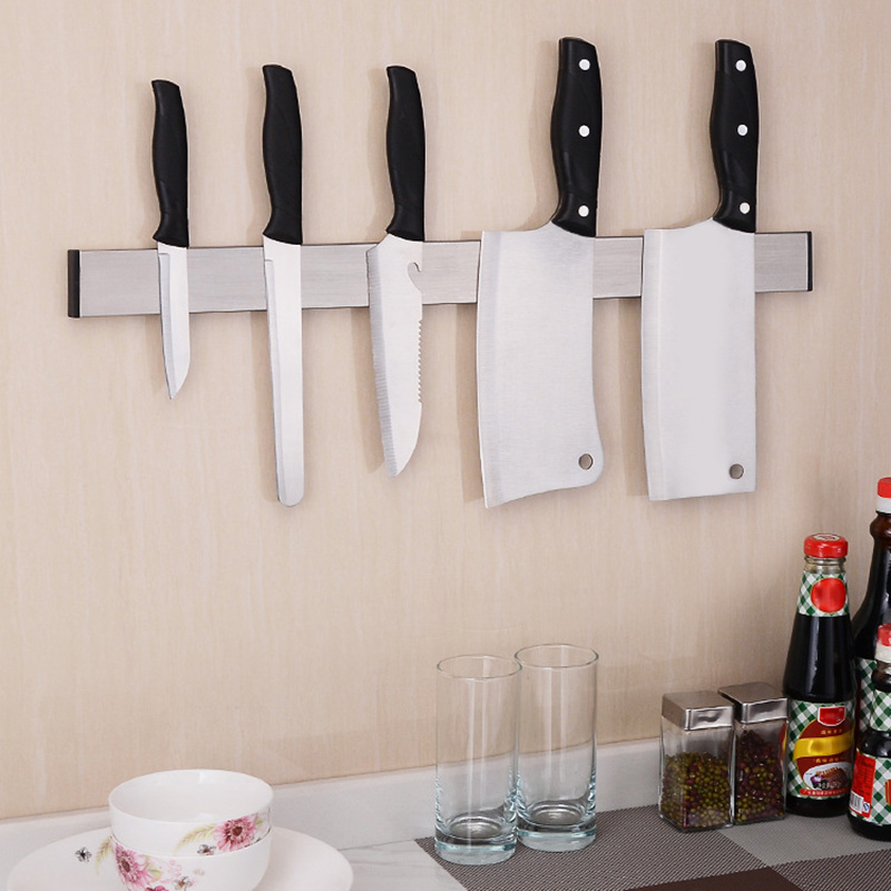 Stainless Steel Magnetic Cutter Rack Non-drill Wall Mounted Cutter Holder For Kitchen XH8Z
