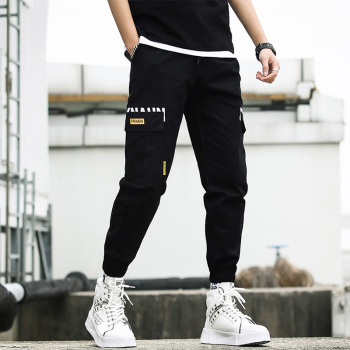 Men cargo pants fashion 2020 new spring and autumn black pockets cotton male ankle-length pants teenager boys Korean style n56 men cargo pants 2019 new arrival spring and autumn black pockets plus size male ankle length pants korean style hot sale n07