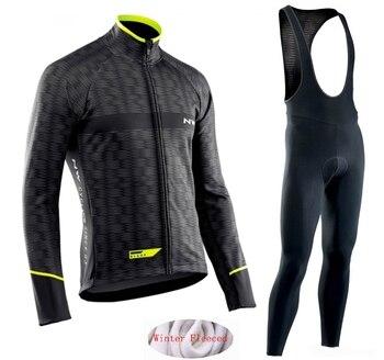 Quentes 2019 Inverno térmica velo Ciclismo Roupas NW Northwave Jersey dos homens terno ao ar livre equitação Calças Jardineiras roupas bicicleta MTB conjunto