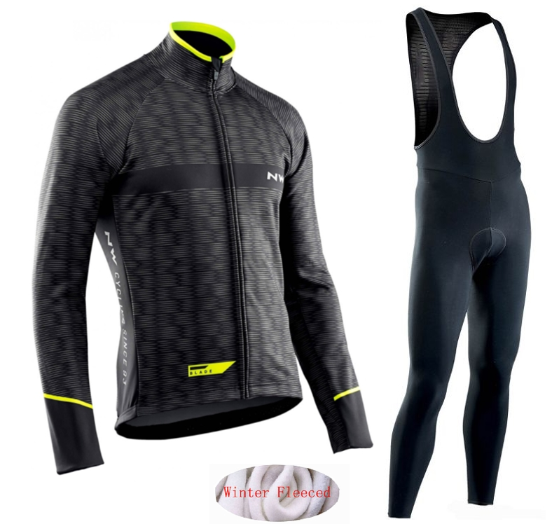 Northwave Warm 2019 Winter thermal fleece Cycling Clothes NW men's Jersey suit outdoor riding bike MTB clothing Bib Pants set|Cycling Sets| |  - title=