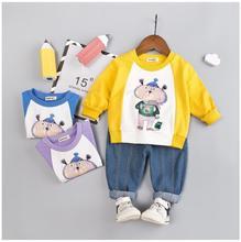 2019 Autumn New Baby Infant Clothing Suits Toddler Boys Girls Clothes Sets Cartoon Shirt Jeans Kids Children Costume Suit стоимость