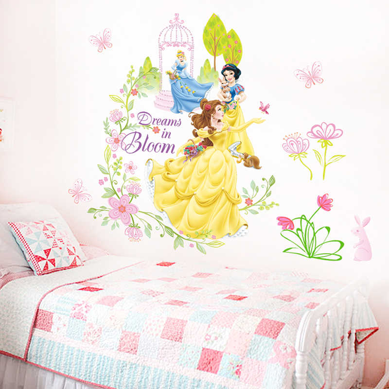 Disney Belle Snow White Cinderalle Princess Wall Stickers For Girl's Room Decor DIY Cartoon Wall Art Decals PVC Poster Kids Gift