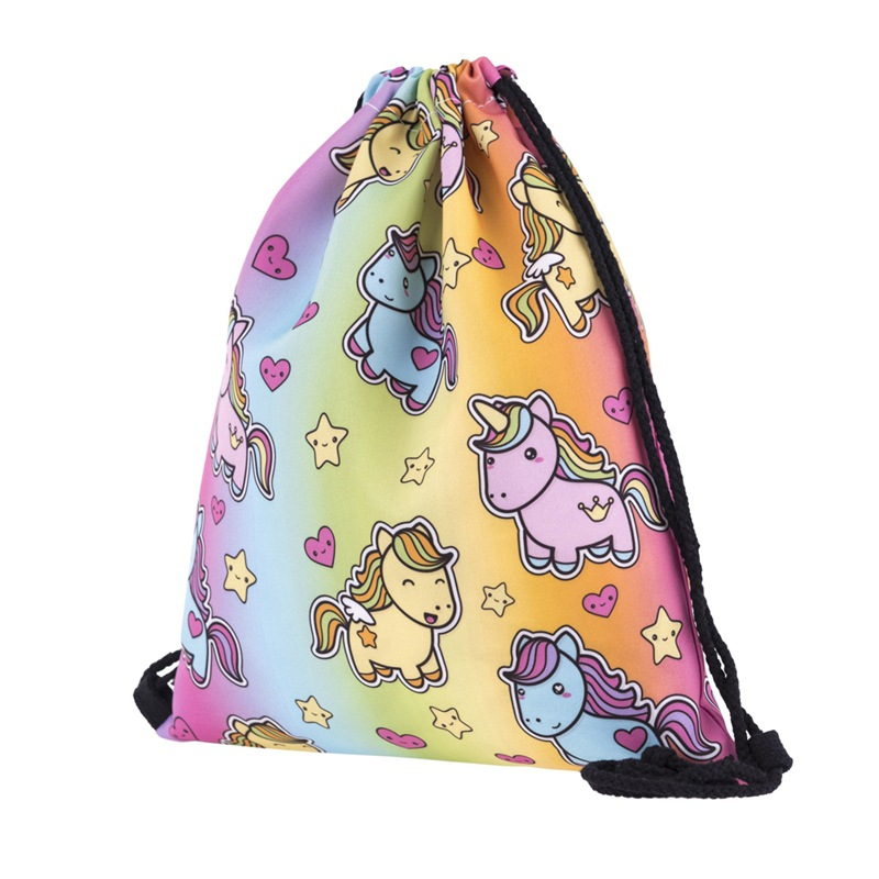 Rope Bag Drawstring Women European Popular 3D Digital Printing Bundle Pocket Unicorn Woman Unicorn Receipt Bundle Knapsack New