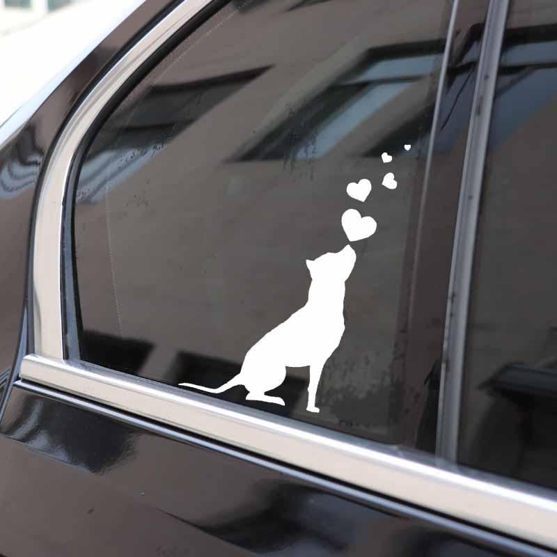 YJZT 9.8X16CM Vinyl Decal Dog Hearts Pet American Staffordshire Terrier Car Stickers Black/Silver C24-1261
