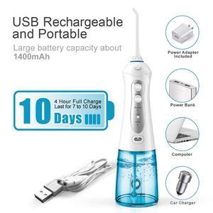 Image 1 - 3 modalità irrigatore orale ricaricabile filo interdentale portatile er impermeabile detergente per denti filo interdentale 2 punte a getto 300ml
