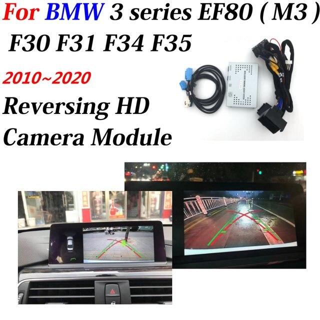 자동차 후면보기 백업 BMW 3 시리즈 M3 F80 F30 F31 F34 F35 2010 2020 풀 HD 디코더 OEM 인터페이스 액세서리 용 리버스 카메라
