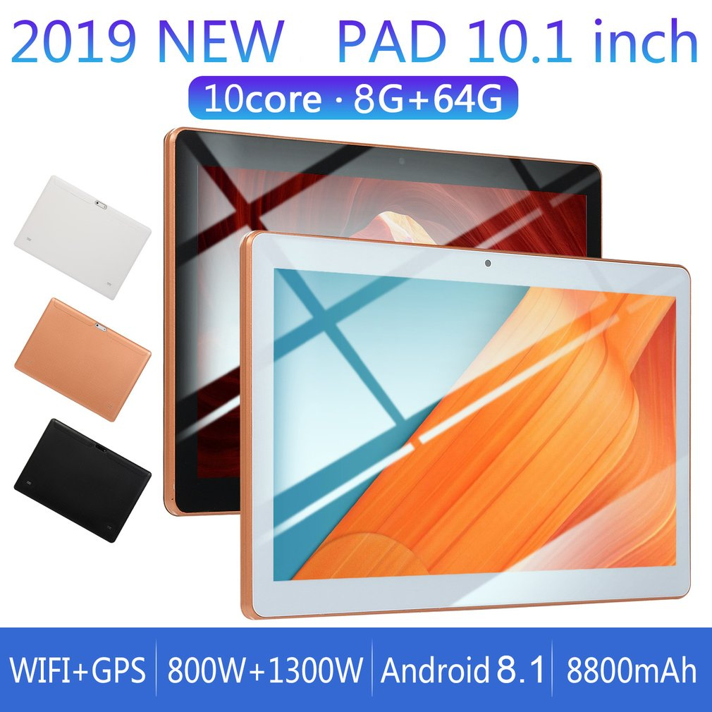 KT107 Plastic Tablet 10.1 Inch HD Large Screen Android 8.10 Version Fashion Portable Tablet 8G+64G Gold Tablet Gold EU Plug