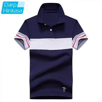 DARPHINKASA Stitching Polo Shirt Men Fashion Breathable Short Sleeve Business Casual Large Size