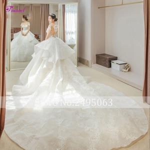 Image 2 - Fsuzwel великолепные свадебные платья трапециевидной формы с кружевной аппликацией и длинным шлейфом 2020 роскошное свадебное платье с бисером и глубоким вырезом Vestido de Noiva