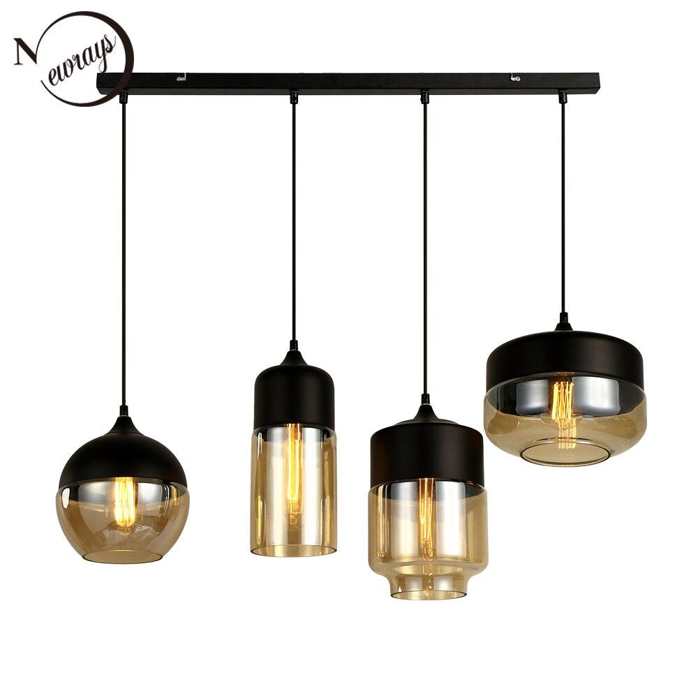 Modern combination creative 3 E27LED indoor lighting hanging lamps bedroom hall living room loft office bar glass pendant lights 1