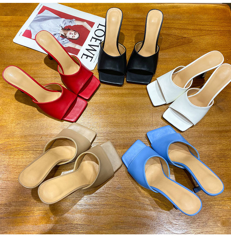2020 New Brand Women Luxury Square Toe Mules Shoes Fashion Slippers High Heels Sandals Slip on High quality Lady Summer Stiletto