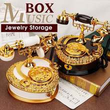 Retro Dial Telephone Music Box Jewelry Box