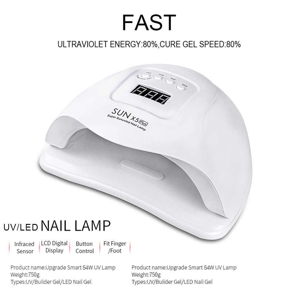 Lámpara UV SUNX5 Plus de 72W/54W, lámpara LED para uñas, secador de uñas, luz solar para uñas de Gel de manicura, lámpara de secado para barniz de Gel
