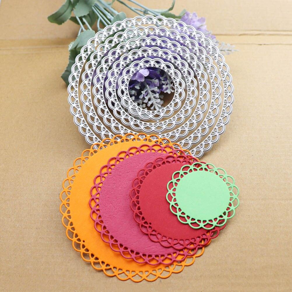 12cm Lace Round Die Circle Metal Cutting Dies Scrapbooking Die Cut for DIY Photo Album Card Craft Paper Embossing Supplies